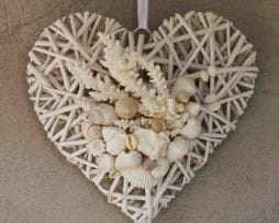 White Filled Hanging Heart Wreath