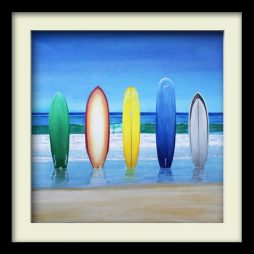 Five Surfboards (black frame)