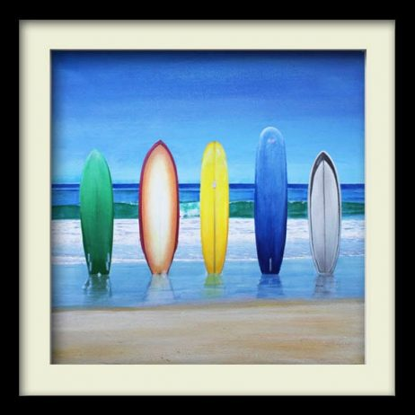 Five Surfboards (black frame)