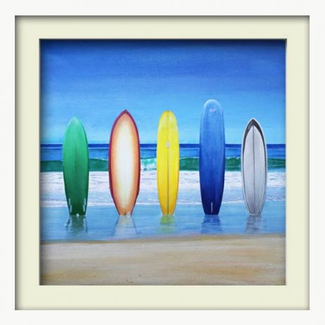 Five Surfboards (white frame)