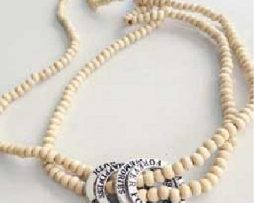 Affirmation Charm Beaded Necklace (Tan)