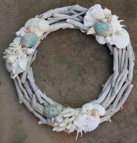 Driftwood Wreath with Coral and Turquoise Shells