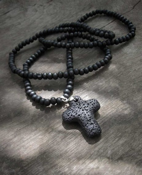 Black Necklace Volcanic Lava Rock Cross