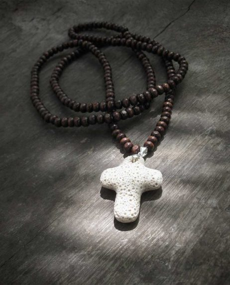 Brown Necklace Volcanic Lava Rock Cross
