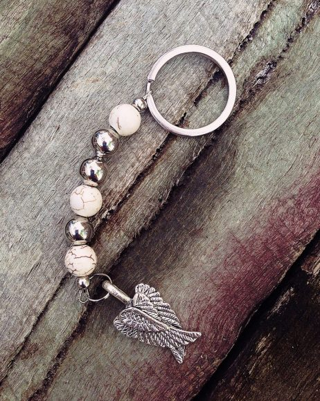 Angel Wings Keyring - White Agate