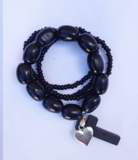 Black Timber Bracelet- 'Made with Love' Heart Charm