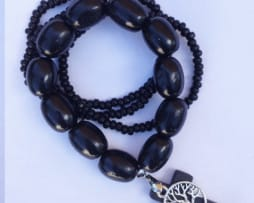 Black Timber Bracelet- Tree of Life Charm