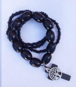 Black Timber Bracelet- Tree of Life Charm