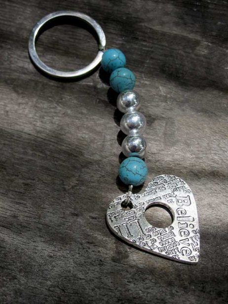 'Believe' Heart Keyring - Turquoise