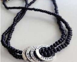 Affirmation Charm Beaded Necklace (black)