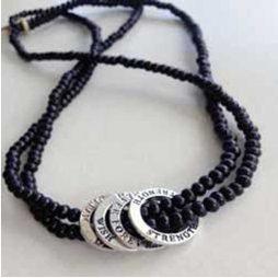 Affirmation Charm Beaded Necklace (black)