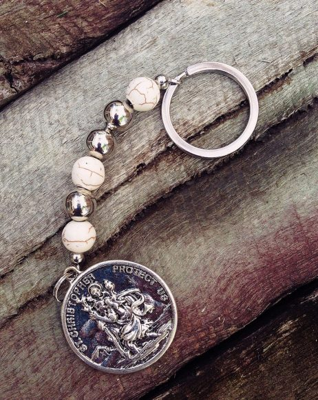 St. Christopher Keyring - White Agate