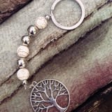 Tree of Life Keyring - White Agate