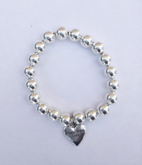 Silver Bracelet - 'Made with Love' Heart Charm