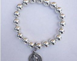 Silver Bracelet - 'St. Benedict' Charm- Front