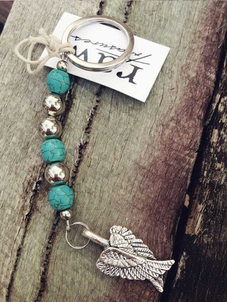 Angel Wings Keyring - Turquoise