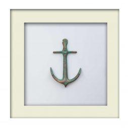 Nautical Anchor Sculpture - Patina Finish - White Frame