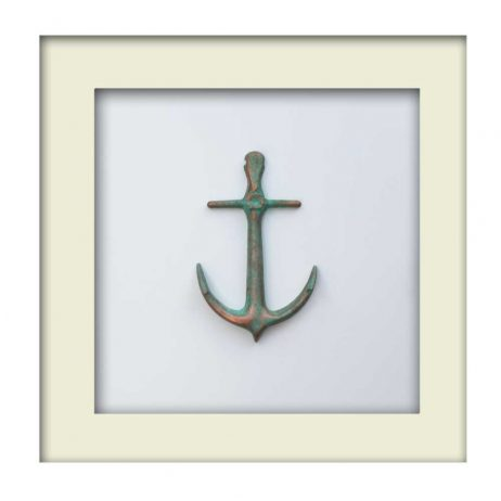 Nautical Anchor Sculpture - Patina Finish - White Frame