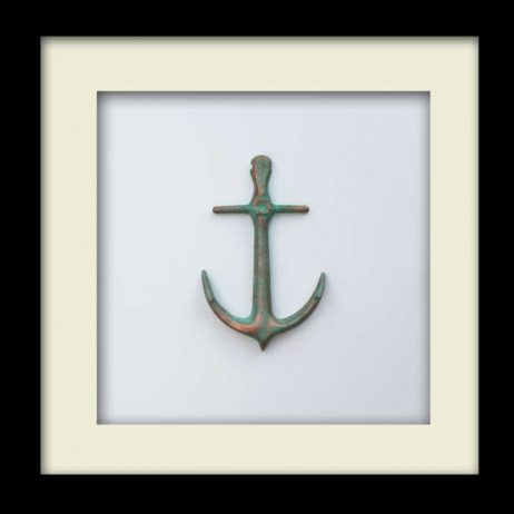 Nautical Anchor Sculpture - Patina Finish - Black Frame