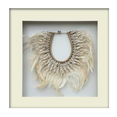 Tribal Feather and Shell Necklace – White Frame