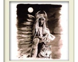 Indian Wolf - White Frame