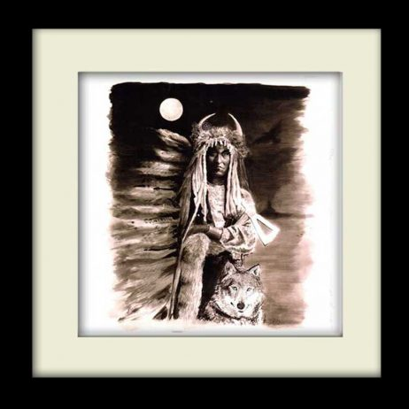 Indian Wolf - Black Frame