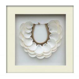 Tribal Shell Necklace – White Framed
