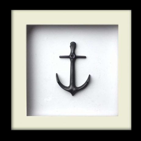 Nautical Anchor Sculpture - Silver Finish - Black Frame