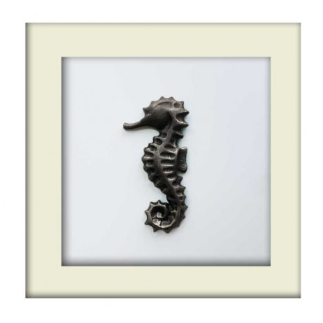 Nautical Seahorse Sculpture - Silver – White Frame