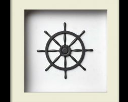 Nautical Wheel Sculpture - Silver – Black Frame