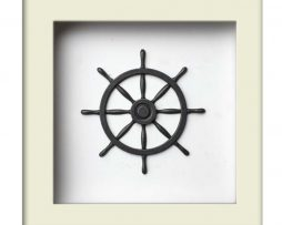 Nautical Wheel Sculpture - Silver – White Frame