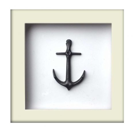 Nautical Anchor Sculpture - Silver Finish - White Frame