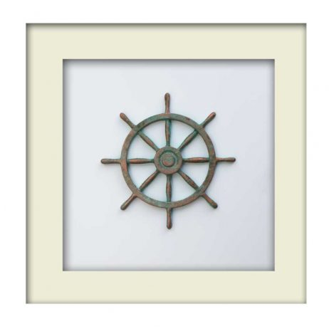 Nautical Wheel Sculpture - Patina – White Frame