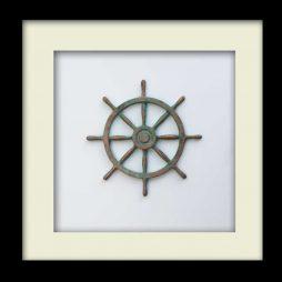 Nautical Wheel Sculpture - Patina – Black Frame
