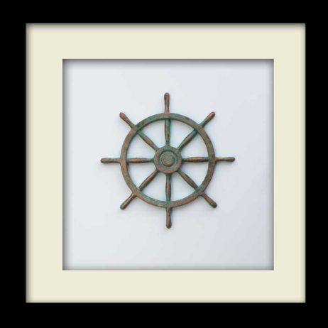 Nautical Wheel Sculpture - Patina – Black Frame