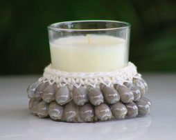 Crocheted Candle Holder - Blue Shell