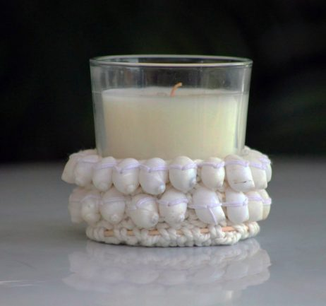 Crocheted Candle Holder - White Shell