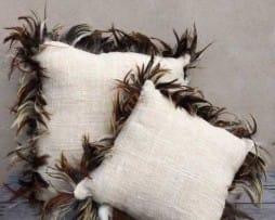 Cushions With Feather Trimming