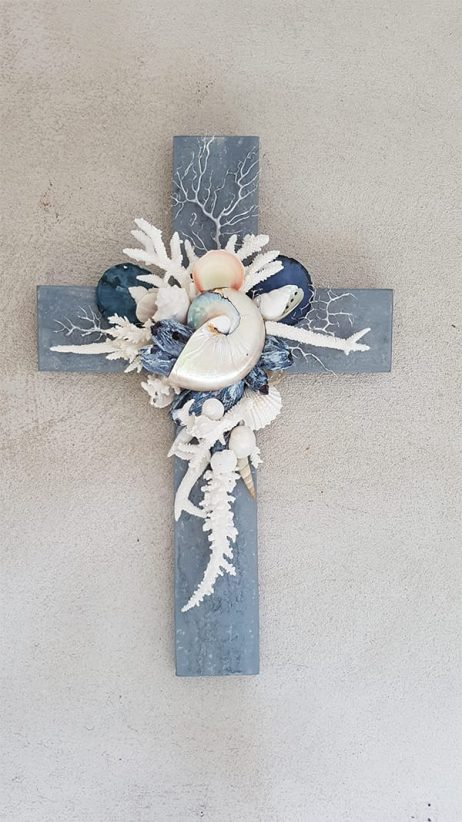 Cement Blue Barnacle Cross